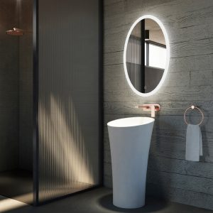Solid surface pedestal sink