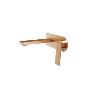 Wall-mount basin mixer brushed rose golden